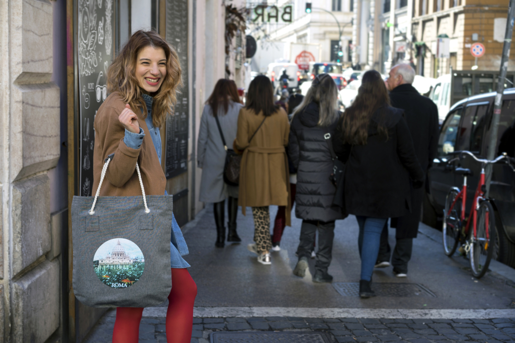 Jeans Shopper Bag with Picture Printed