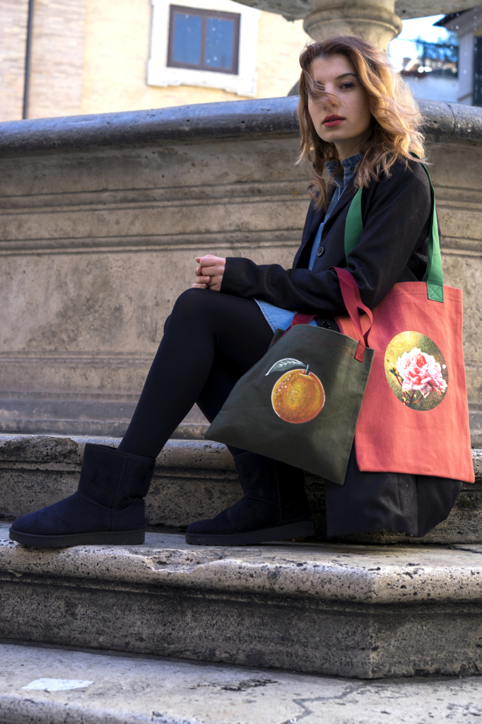 Green and Red Bags with Picture Painted and Printed