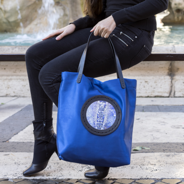 Elettric Blue Bag with Picture Printed