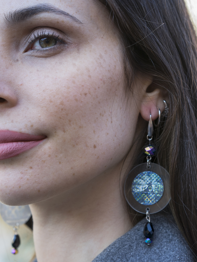 Earrings with SPQR Picture Printed