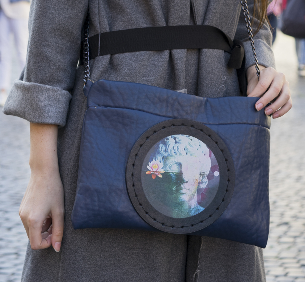 Blue Bag with Picture Printed